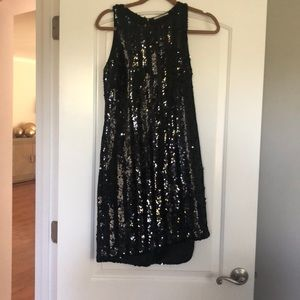 TAHARI black sequin dress